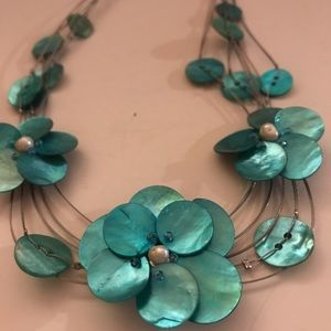 Jewelry - Abalone turquoise shells & pearl necklace